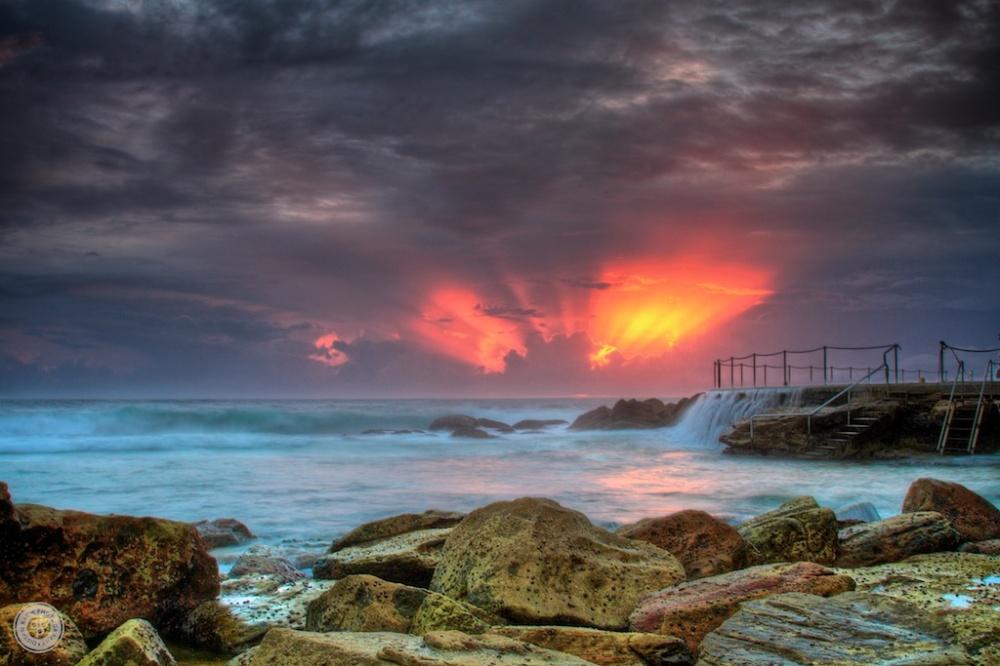 Fiery sunrise at Bronte Beach