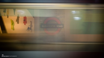 Gloucester Rd station with moving train