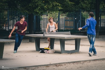 Friends playing table tennis