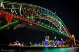 Vivid Festival: Sydney Harbour Bridge and MartinPlace