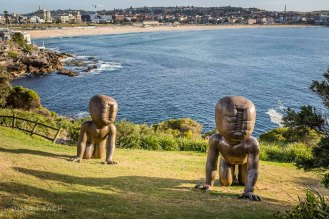 Babies with Bondi in the background