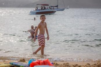 My son taking a dip